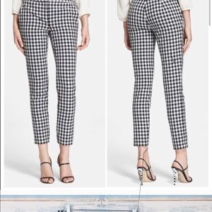 Adrianna Papell 4 houndstooth slim crop pants.